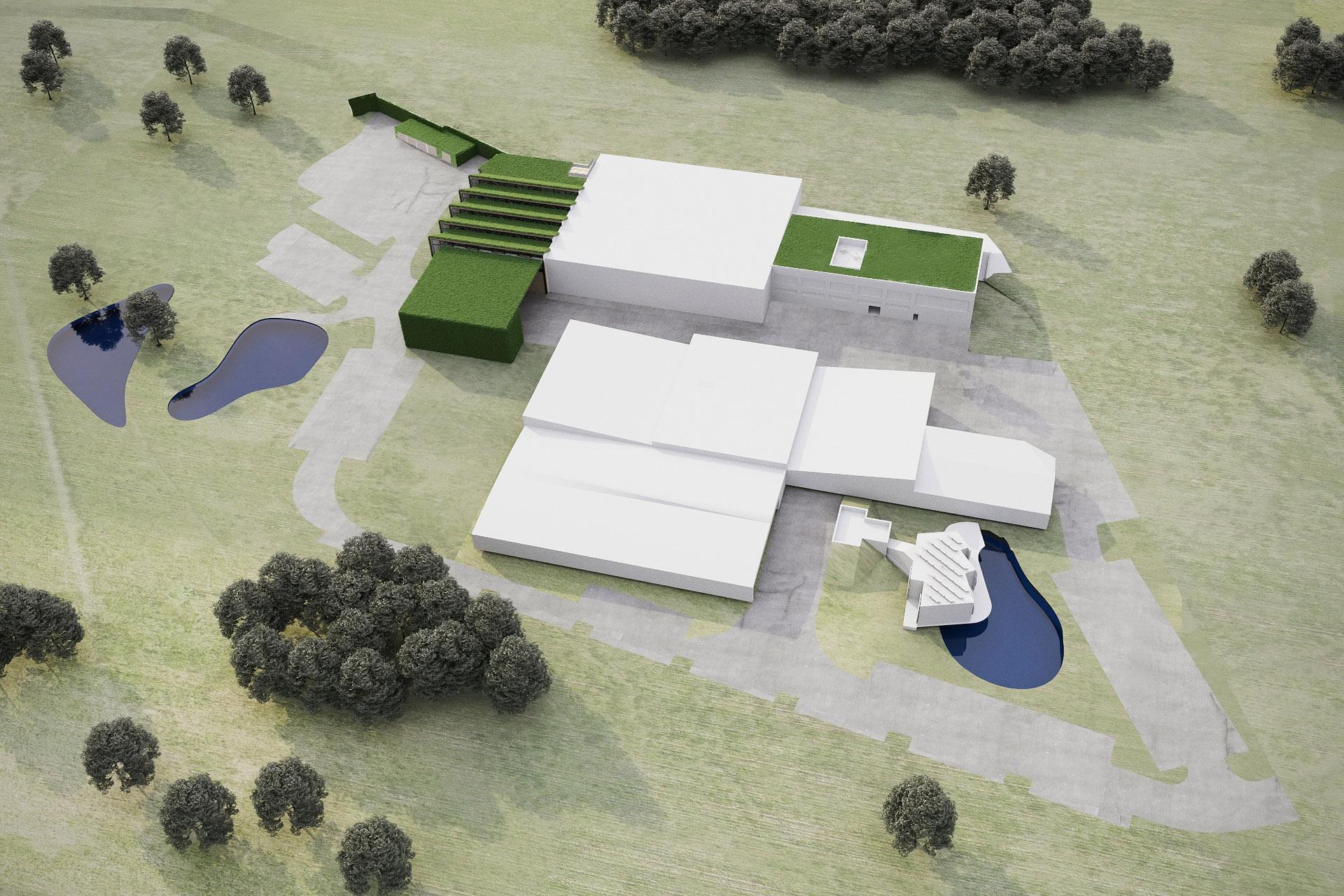 Situační vizualizace umístění zelené haly v areálu společnosti LIKO-S